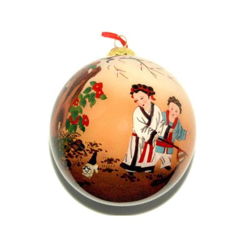 Hand-Painted Glass Ornament, Children at Play with Cat