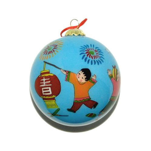 Hand-Painted Glass Ornament, Children's Happy New Year