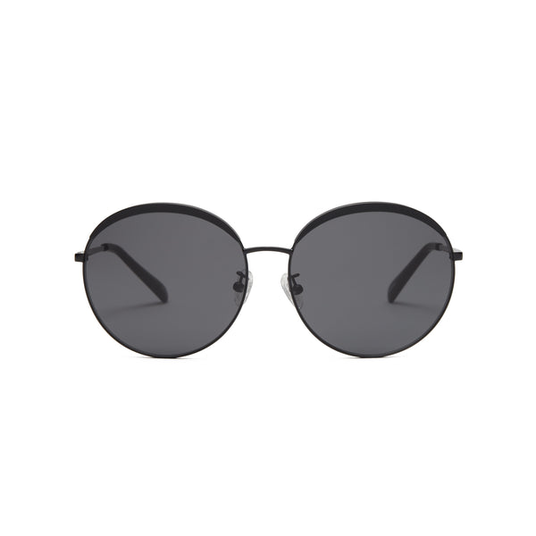 Sunglasses with matte black frames and solid black lenses, front view