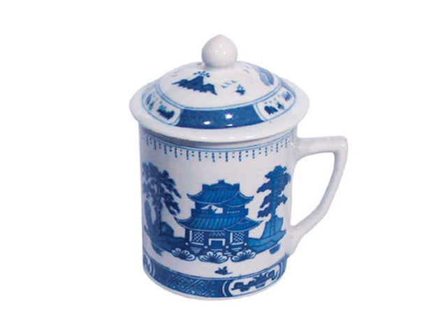 Classic Blue on White Mug with Lid