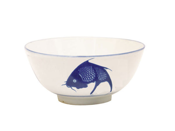 Vintage bowl with a blue carp of hand painted quality on the exterior