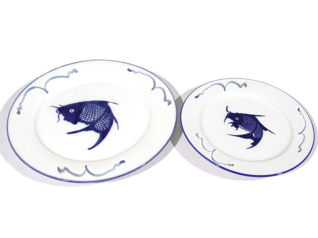 Classic Blue Fish Design Flat Plate (Rim & Waves)