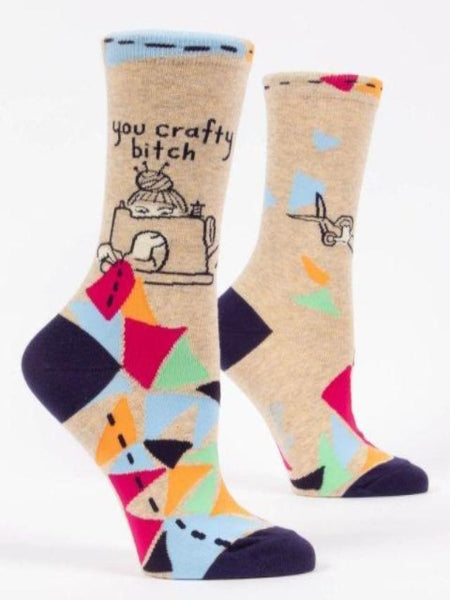 Colorful socks that say you crafty bitch