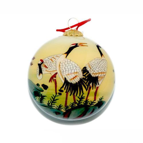 Hand-Painted Glass Ornament, Cranes