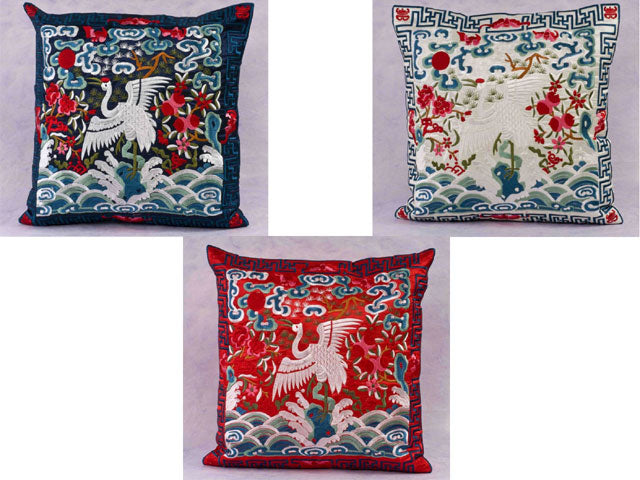 Silk Rayon Embroider Crane Pillow Throw - Pillow Case (Upon on Request)