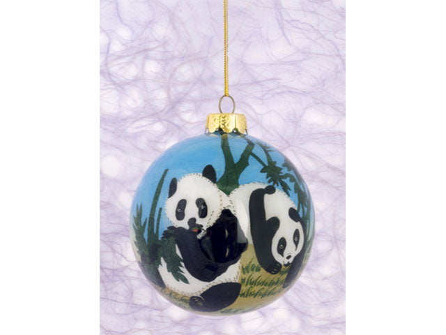 Hand-Painted Glass Ornament - Panda