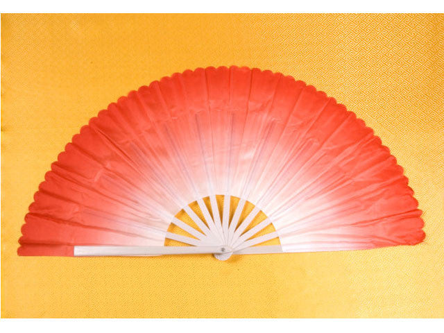 White Plastic Rib Ombre Color Fabric Dancing Fan (2 pcs Set)