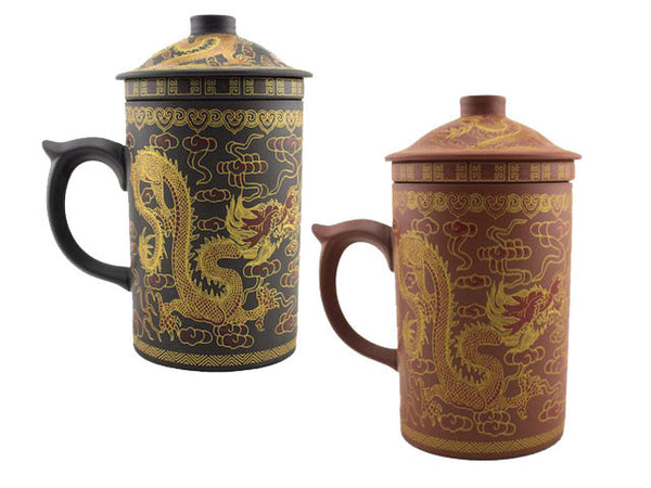 Gold Dragon Design Terra Cotta Mug with Infuser