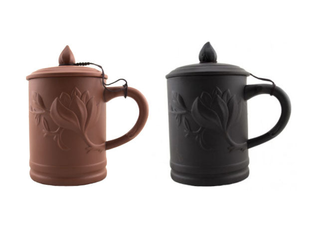 Embossed Floral Terracotta Mug with Cover