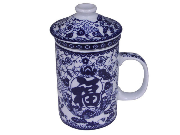 Blue on White Good Fortune Design Mug with Infuser