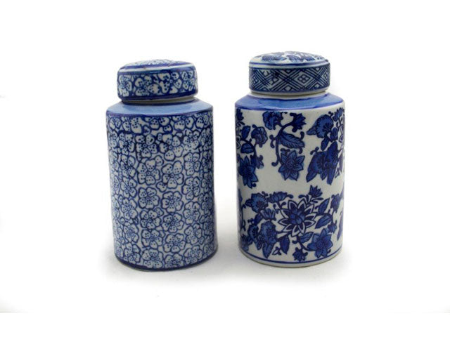 Classic Blue and White Hand-painted Porcelain Canister