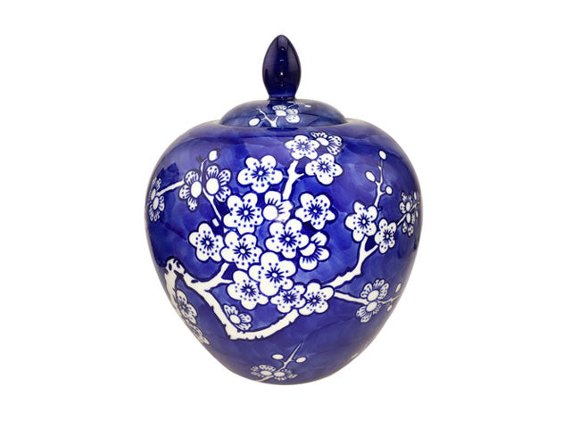 Hand-Painted Cherry Blossom Design Porcelain Jar