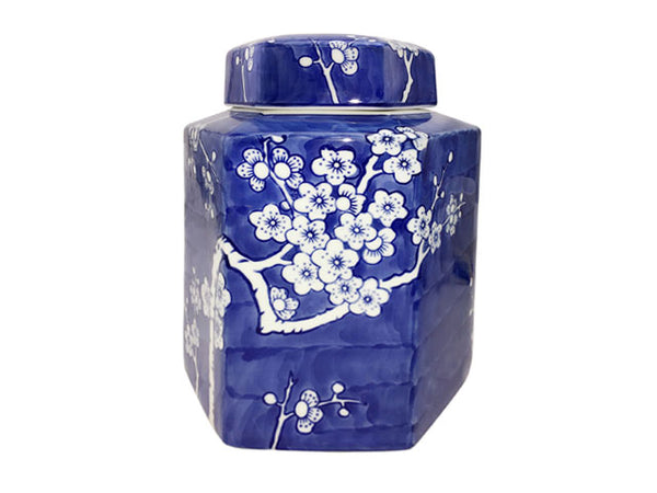 Gorgeous cobalt blue cylindrical jar with white plum blossom design