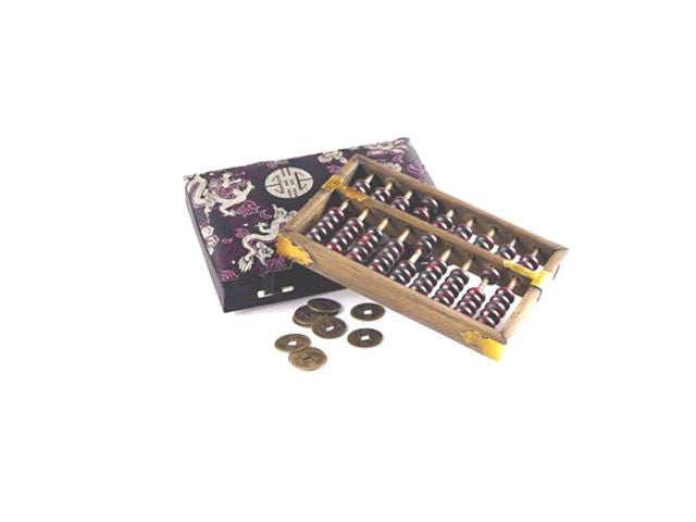 Abacus with Coins in Elegant Silk Box