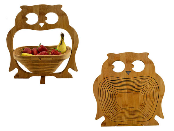 Fordable Bamboo Fruit Basket - Owl