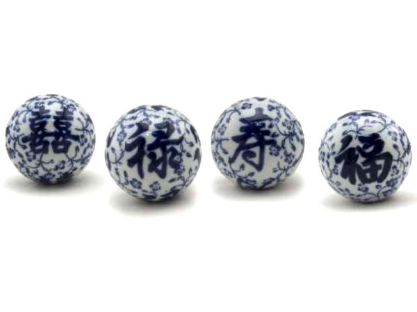Classic Blue and White Hand-painted Ceramic Spheres
