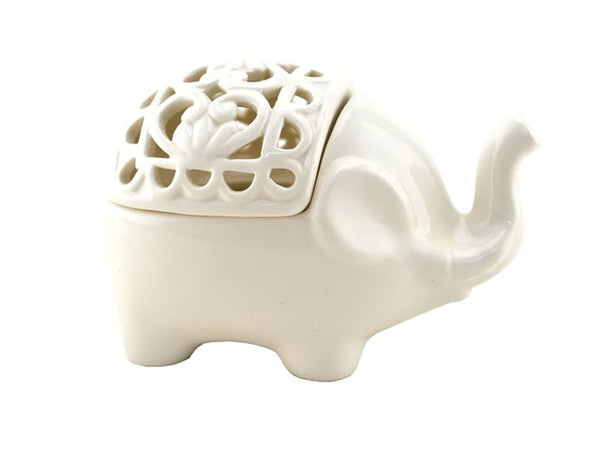 Translucent Porcelain Elephant Incense & Candle Holder