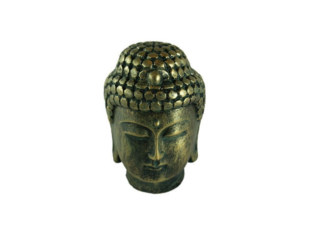 Faux-Brass Buddha Head - 4 in. H