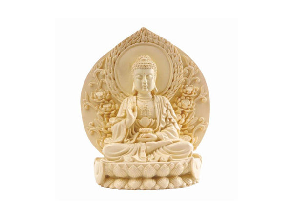 Sitting Buddha on Lotus with Back Wall - Cast Resin
