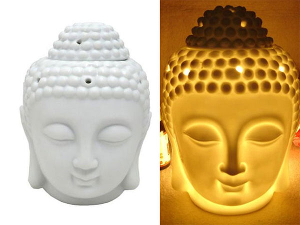 Porcelain Buddha Head Votive & Incense Holders
