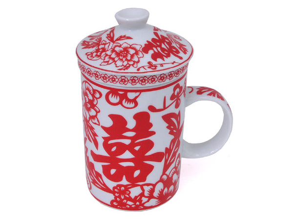 White mug with cup and red double happiness character and floral design