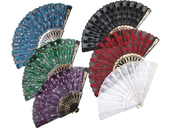Peacock Feather Design Fabric Laced  Fan - 9 in.