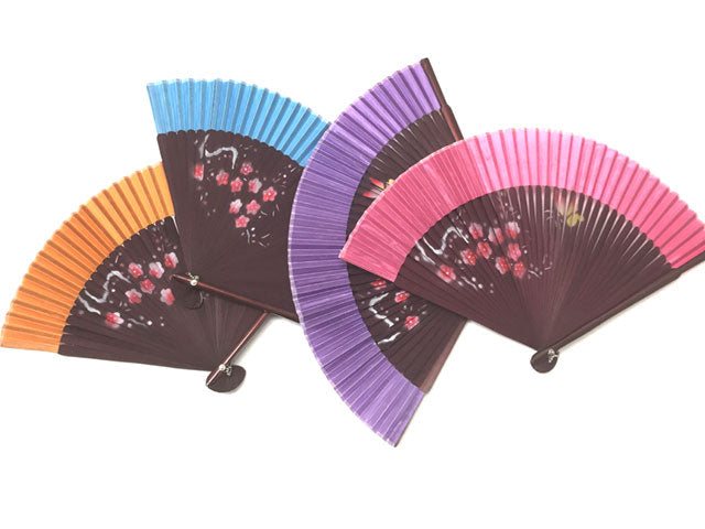 Floral Bamboo Framed Silky Fan - 9 in.