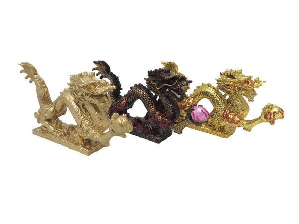 Dragon with Pearl Statue (M) - 9 in.