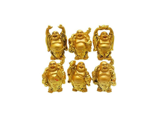 "Laughing Buddha Set of 6  (2""H)"