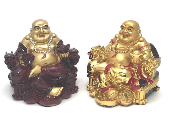 "Laughing Buddha on Dragon Arm Rest Chair (4.5"" H)"