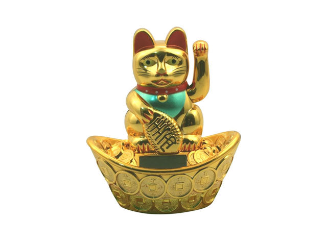 Solar Powered Hand Motion Lucky Cat on Ingot - 5""