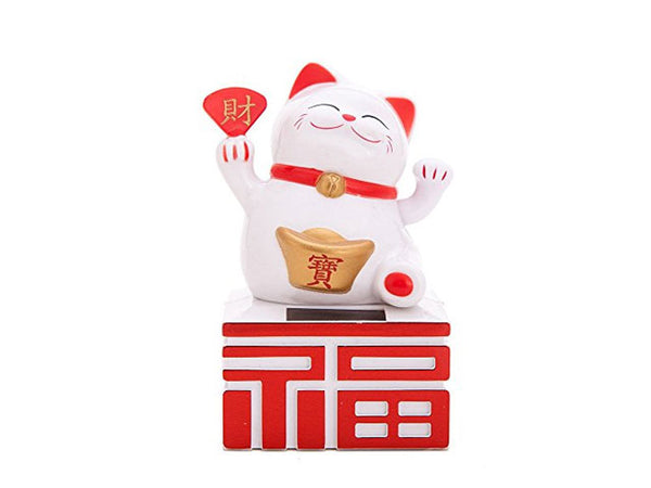 Solar Powered Hand Motion Lucky Cat on Fortune - 4.75""