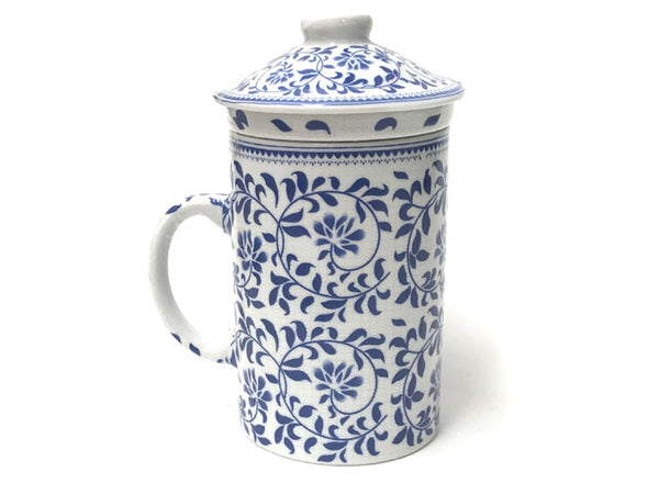 Blue on White Vine Design Mug with Infuser