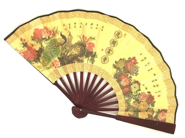 Exquisite gold folding fan floral pattern