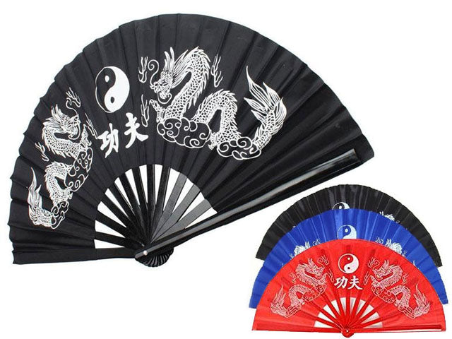 Double Dragon KungFu Fabric Fan - 13 in. Plastic Frame