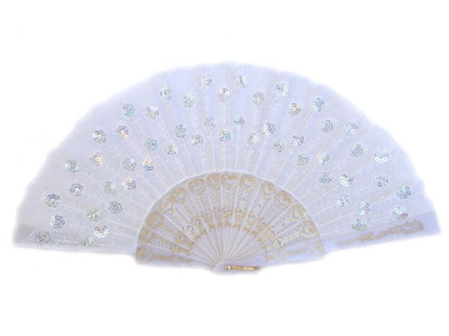 White Frame Sequins Fabric Fan - 9 in.