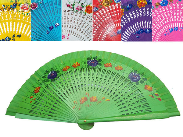 Painted Floral Wooden Hand Fan w. Carving