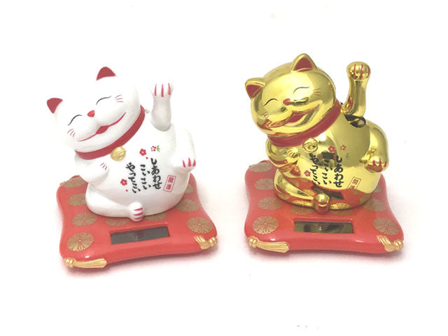 "Solar Powered Hand Waiving Motion Lucky Cat on Red Mat (2.75"""")"