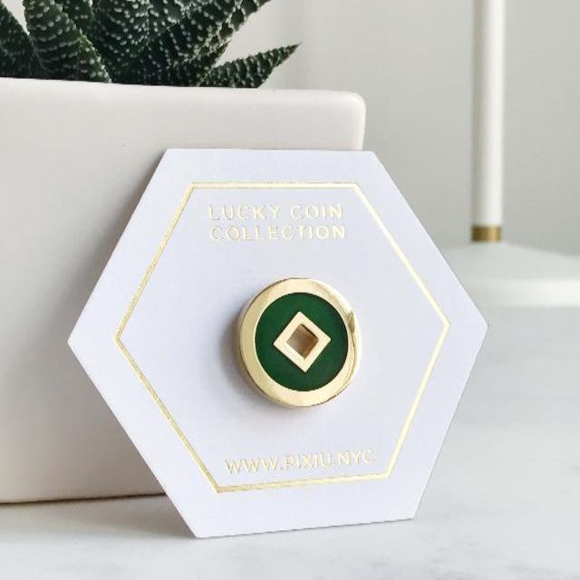 Lucky Coin Enamel Pin (Emerald Color)