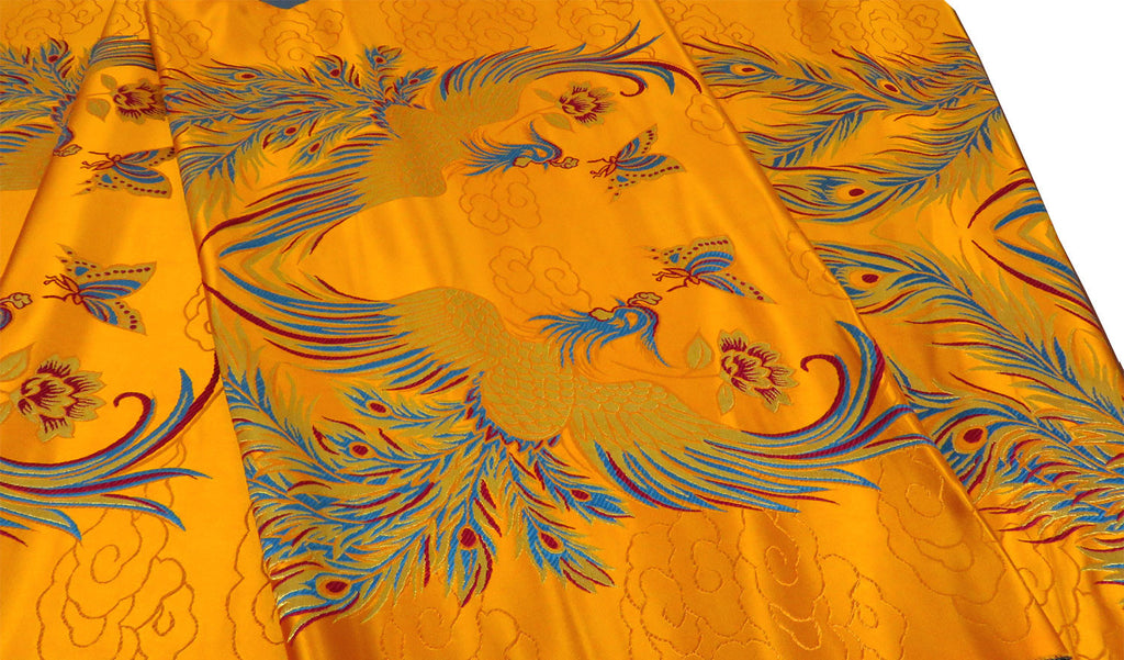 Double Phoenix Design Brocade Fabric - Gold  (Out of Stock)