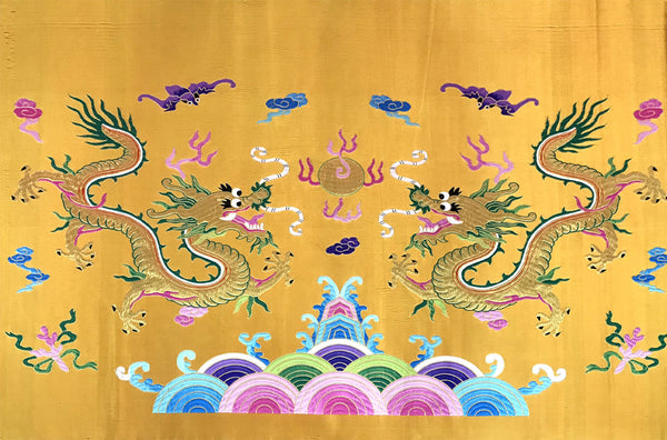 Golden Double Dragon Brocade Fabric