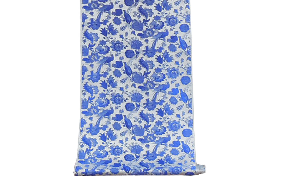 Blue on Silver Pheasant/Flower Design Brocade Fabric