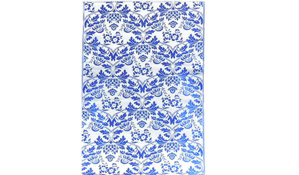 Blue on Silver Floral Design Brocade Fabric