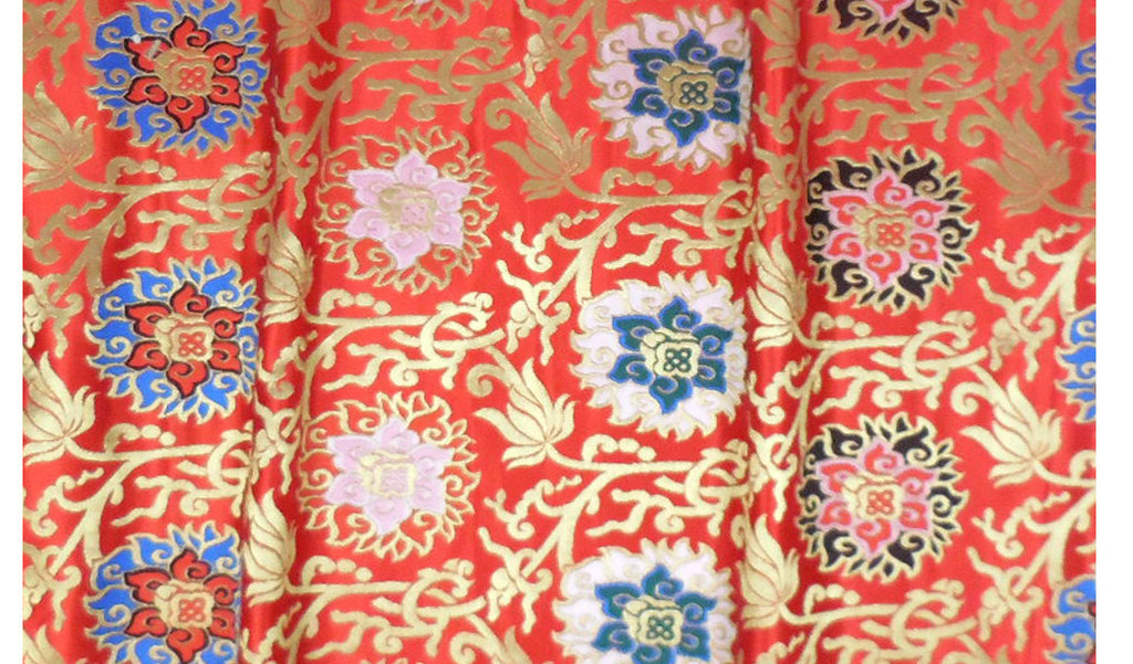 Lotus Flower Brocade Fabric - Red