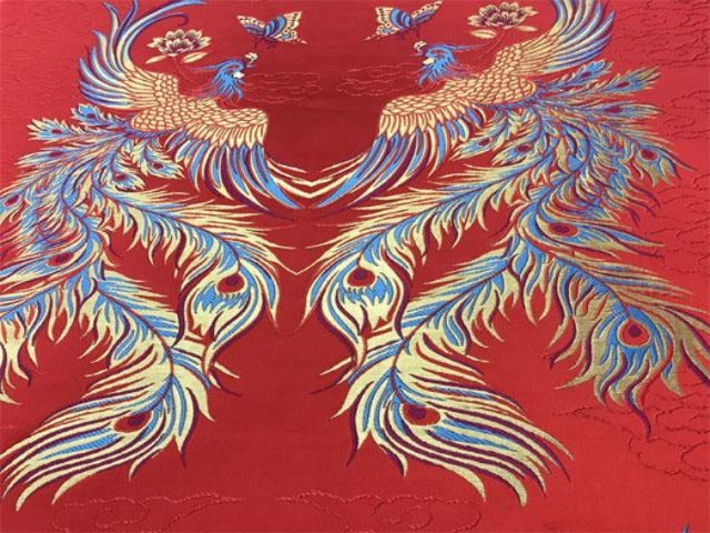 Double Phoenix Brocade Fabric - Red