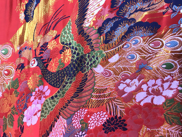 Colorful Peacock Garden Brocade Fabric
