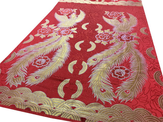 Golden Phoenix Peony Brocade Fabric - Red