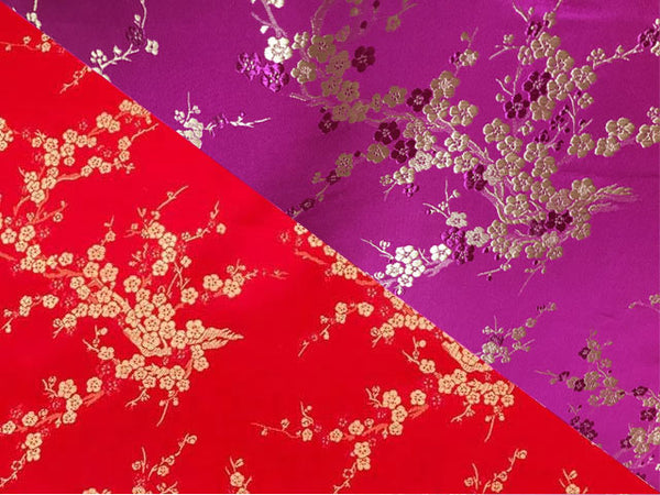 Golden Cherry Blossom Brocade Fabric - Silk Rayon