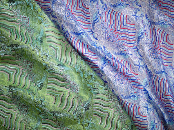 Emperor Cloud Motifs Brocade Fabric - Rayon