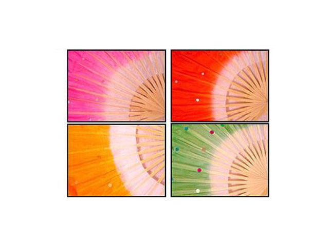 Bamboo Frame Silk/Rayon Dancing Fan with Sequins - Pair